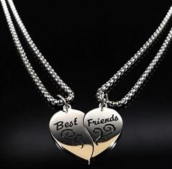 """Парные кулоны для лучших друзей """"Best Friends"""" в виде сердца - фото 10569"""