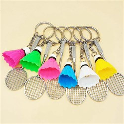 """Брелки для 6 друзей """"Ракетки с разноцветными воланчиками"""" - фото 11048"""