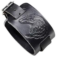 """Черный широкий мужской браслет """"Ночной волк"""" - фото 11190"""