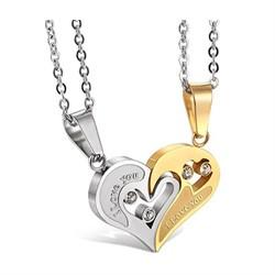 """Двойные кулоны в виде сердца """"I love you"""" - фото 11353"""