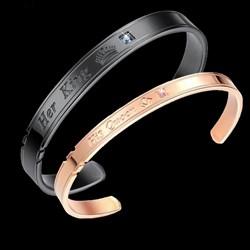 """Парные браслеты """"King&Queen"""" gold&black  - фото 11772"""
