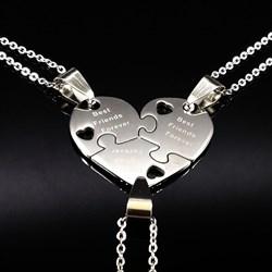 """Парные кулоны в виде сердца """"Вest friends forever"""" - фото 12040"""