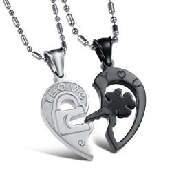 парные кулоны ключ и сердце