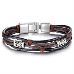 кожаный браслет для мужчин с элементами из стали