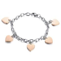 женский браслет с сердцами