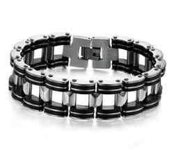 стальной мужской браслет с каучуком