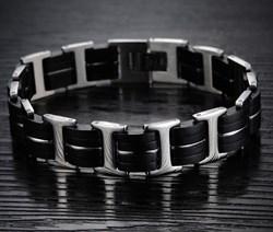 мужской браслет из стали и каучука