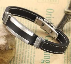 каучуковый браслет мужской со сталью