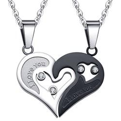 """Двойные кулоны в виде сердца """"I love you 2"""" - фото 9178"""