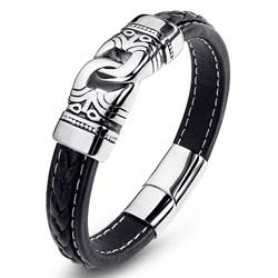 браслет для мужчины из кожи и стали