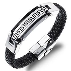 мужской кожаный плетеный браслет со вставкой из стали