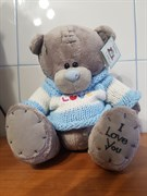 """Мишка Тедди """"I love you"""" в голубом свитeрке"""