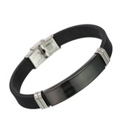 Каучуковый мужской браслет с чёрной вставкой