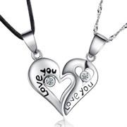 серебряные кулоны для влюбленных