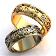 """Обручальные кольца """"Два сердца звучат в унисон"""""""