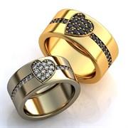 """Обручальные кольца """"Любящие сердца"""""""