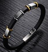 каучуковый браслет для мужчины со сталью