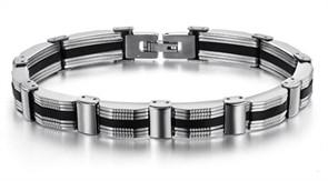 стальной браслет для мужчины с каучуком