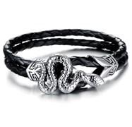 мужской браслет со змеей из кожи и стали
